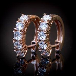 Mens CZ 14K Rose Gold Plated Round Hoop Earrings